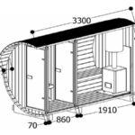 Ein Bild von dem Querschnitt des Saunafass 330