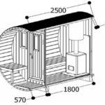Ein Bild von dem Querschnitt des Saunafass 250